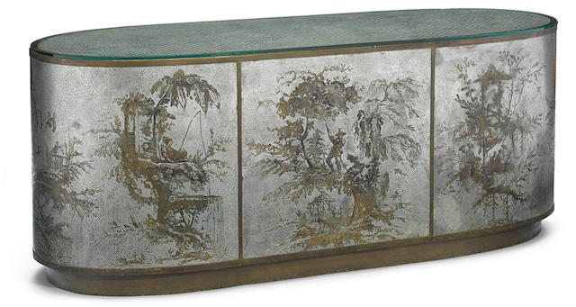 A Philip and Kelvin Laverne enameled and patinated bronze and pewter oval console third quarter 20th century