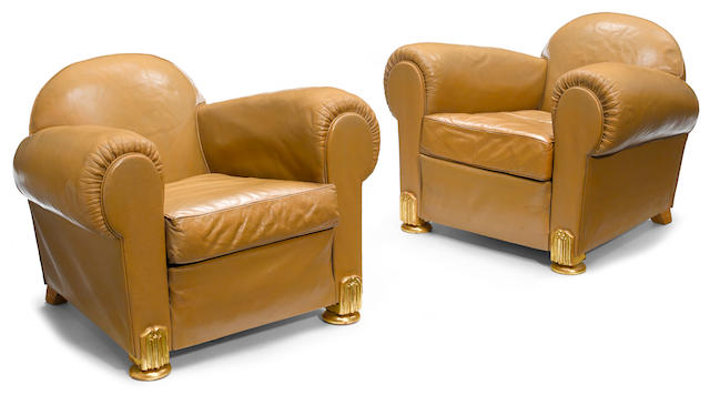A pair of Art Deco style bronze mounted tan leather armchairs Modern, in the manner of Emile-Jacques Ruhlmann