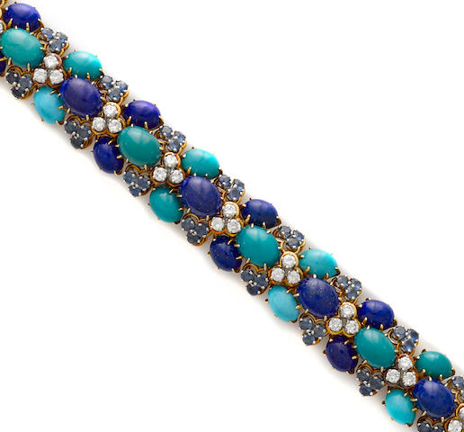 A turquoise, lapis lazuli, sapphire and diamond bracelet