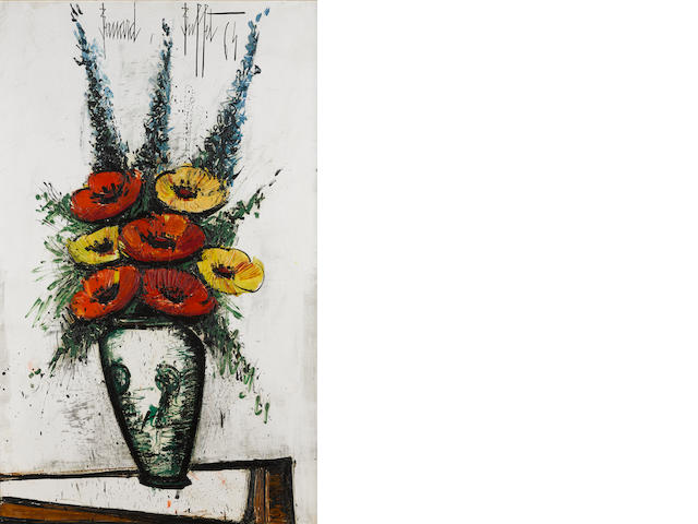 BERNARD BUFFET (1928-1999) Pavots rouges et jaunes, delphiniums bleus 51 x 32in. (130.5 x 81.5cm) Painted in 1964