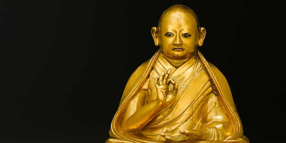 A gilt copper alloy figure of Lobzang Gyatso Tibet, 18th century