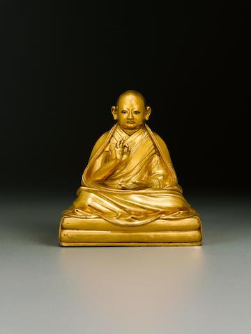 A gilt copper alloy figure of Lobzang Gyatso Tibet, 18th century