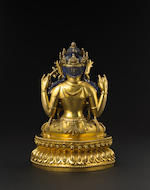 A fine and rare gilt bronze figure of Shadakshari Lokeshvara, Yige drugma Yongle incised six character mark and of the period