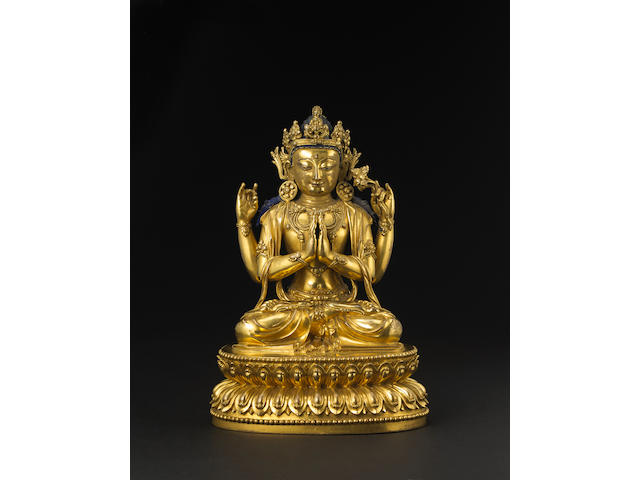 A fine and rare gilt bronze figure of Shadakshari Lokeshvara Yige drugma Yongle incised six character mark and of the period