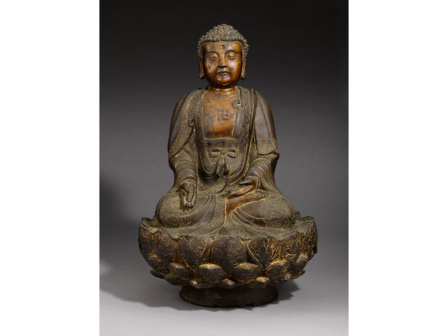 A large gilt and lacquered bronze Buddha 17th century