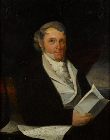 American School, (18th century) A portrait of a sea captain 36 x 28-1/4 in. (91.4 x 71.7 cm.)