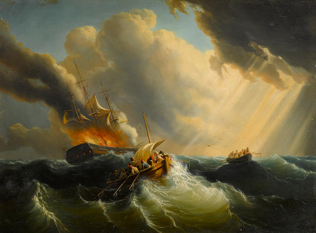 Anonymous (American or English School, mid-19th Century A fire at sea: Abandon Ship!19 x 25-1/2 in. (48.2 x 67.3 cm.)