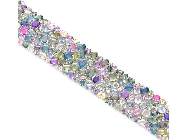 A multi-color sapphire and diamond bracelet