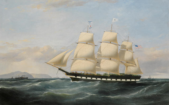 Samuel Walters (British, 1811-1882) The Merchant's Line packet Vanguard off Point Lynas 28 x 42 in. (71 x 106.6 cm.)