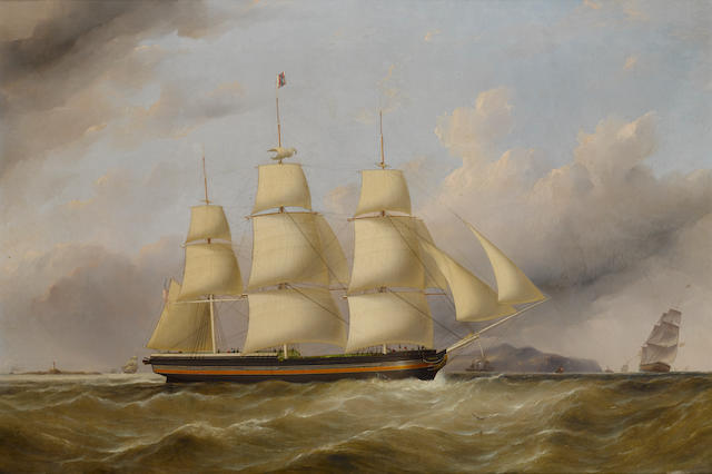 Samuel Walters (British, 1811-1882) The packet ship Memphis of the Lousiana Line off the Skerries 28 x 41-1/2 in. (71.1 x 105.4 cm.)
