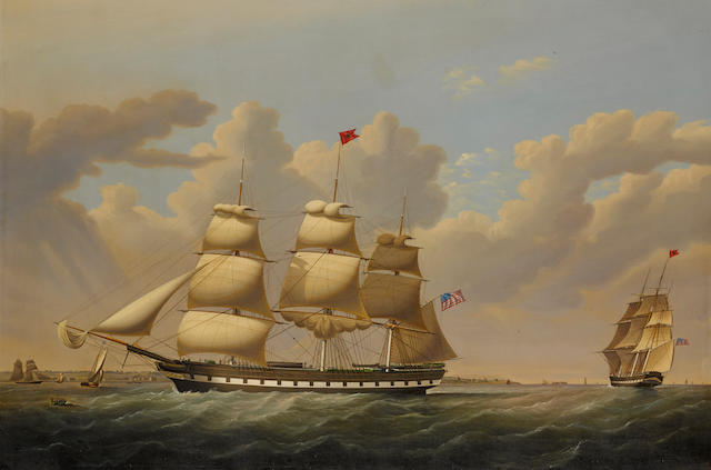 John Hughes (British, 1806-1880) The American packet ship Guy Mannering of the Black Star Line 32 x 48 in. (81.2 x 121.9 cm.)