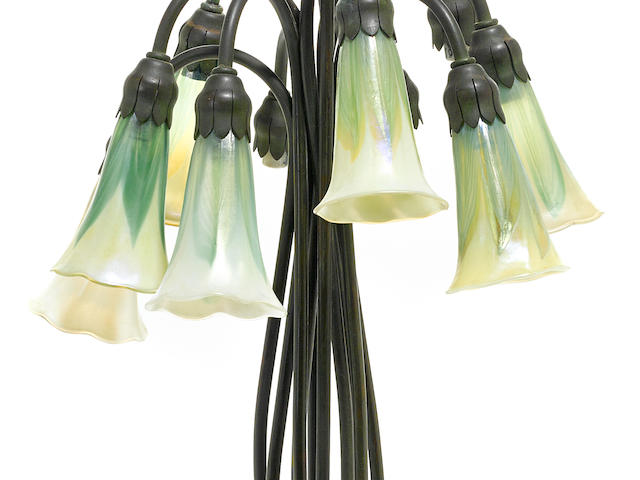 A Tiffany Studios Favrile glass and patinated bronze ten-light Lily lamp 1899-1918