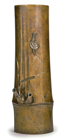 A fine bronze inlaid vase By Kitagawa Motoyoshi (Hokusen) (1846-1922), Meiji period (late 19th/ early 20th century)