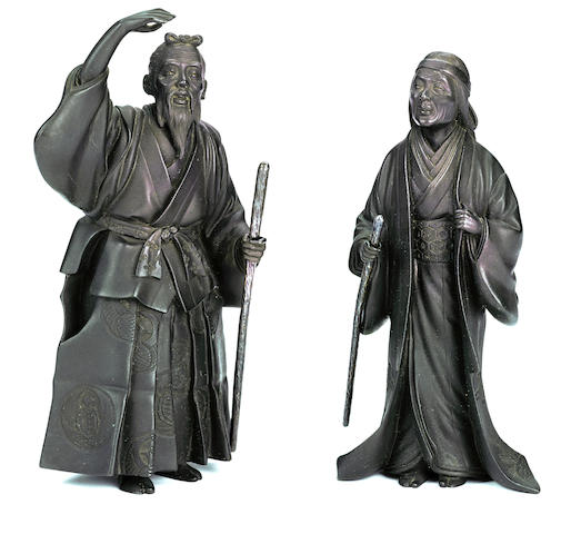 A pair of bronze figures of Jo and Uba By Masayoshi, Meiji period (late 19th century)