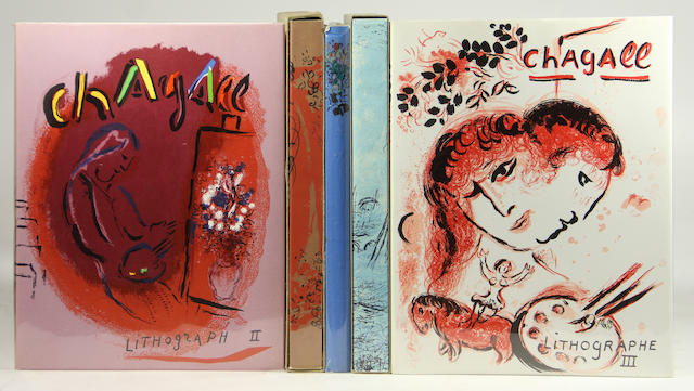 CHAGALL, MARC. 1887-1985. MOURLOT, FERNAND & CHARLES SORLIER. The Lithographs of Chagall. Monte Carlo, Boston & New York: Andre Sauret, Boston Book & Art Shop, Crown Publishers, [1960-1984].