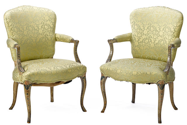 A pair of George III painted armchairs in the French taste  third quarter 18th century