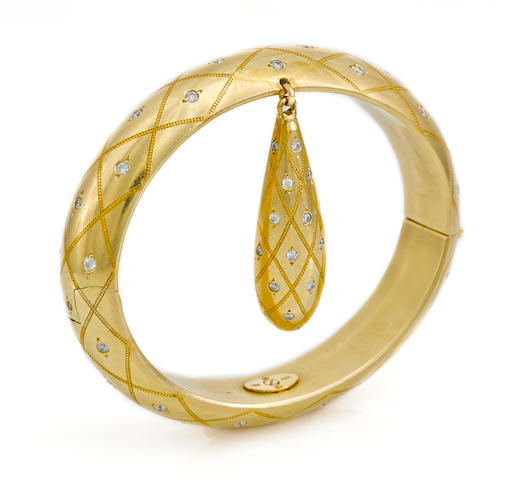 A diamond bangle bracelet suspending an elongated drop charm, Zoltan David