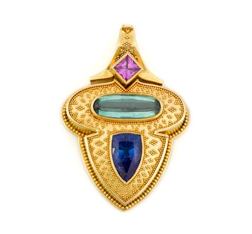A tanzanite, green tourmaline and pink sapphire pendant/enhancer, Kent Raible