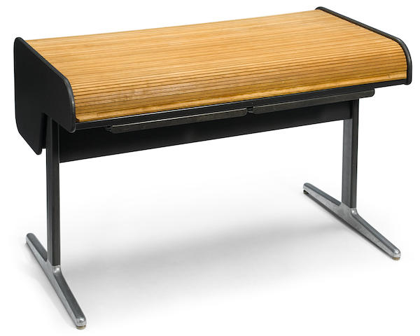 A George Nelson for Herman Miller aluminum, wood, and plastic Action Office rolltop desk designed 1967