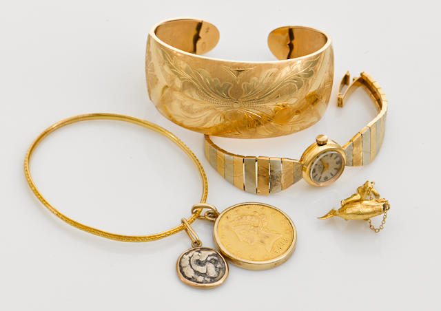 A collection of ancient coin, gold coin, 14k, 18k and high-karat gold jewelry