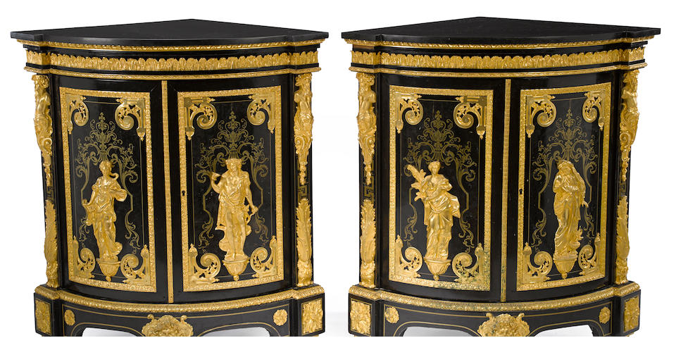 A fine pair of Louis XIV style gilt bronze and boulle marquetry mounted ebonized encoignures aux quatre saisons in the manner of Andre-Charles Boulle (1642-1732) third quarter 19th century