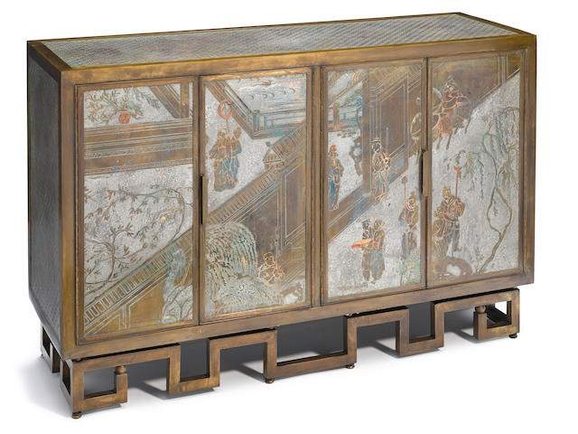 A Philip and Kelvin Laverne enameled and patinated bronze side cabinet third quarter 20th century
