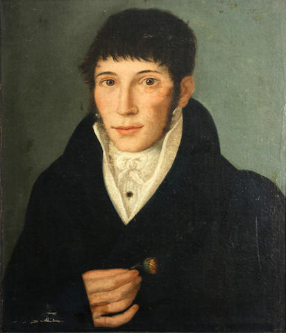 Continental School, 19th Century A portrait of a young man 20 1/2 x 17in