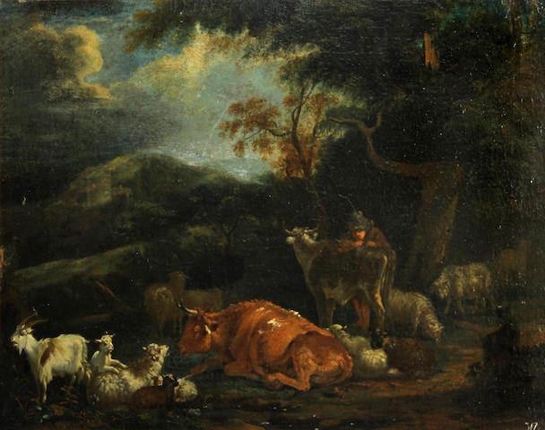 Follower of Dirk van Bergen (Dutch, born circa 1645-died circa 1690) A wooded landscape with a figure and cows, sheep and goats 14 1/4 x 18 1/2in