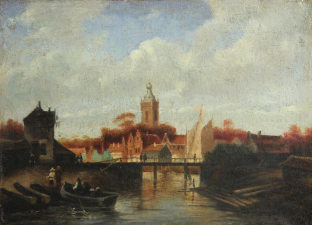 Dutch School A view of a canal with figures in a boat 11 x 15 3/4in