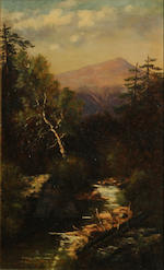 Frank Henry Shapleigh (American, 1842-1906) On Thorn Hill Road, New Hampshire, 1887; Mount Washington from the brook near Crawford House, 1887 (a pair) each 16 1/4 x 10 1/4in