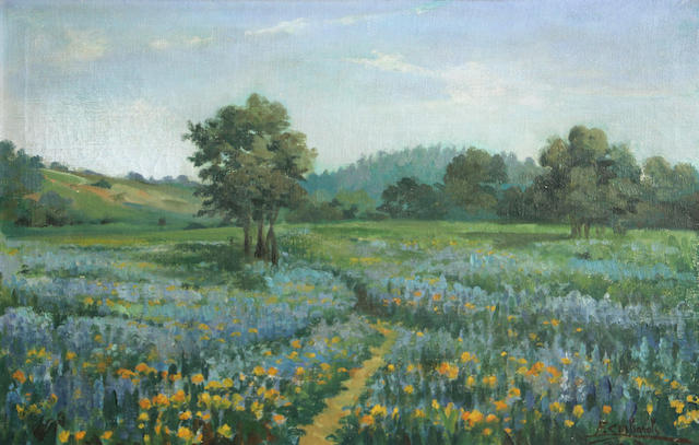 Ettore Serbaroli (1881-1951) View of Mt. Tamalpais; Path through the wildflowers (2) first 13 3/4 x 24 1/2in; second 14 1/2 x 22 1/4in