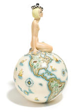 A Helen König Scavini for Lenci glazed earthenware figure: Nudo Sul Mondo circa 1930