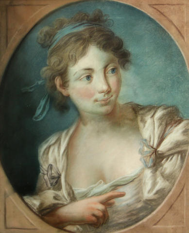 French School, 19th Century A portrait of young woman, in a painted oval 17 x 13 3/4in
