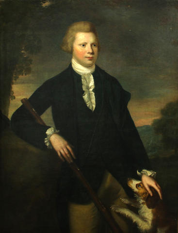 British School, 18th Century A portrait of a young gentleman, three-quarter length, holding a gun, his dog by his side, in a landscape 48 x 36 1/2in