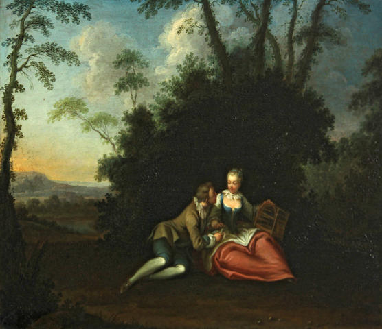 Follower of Sebastian-Jacques Leclerc (French, 1734-1785) La gage d'amour (The love token) 9 1/2 x 13 1/4in