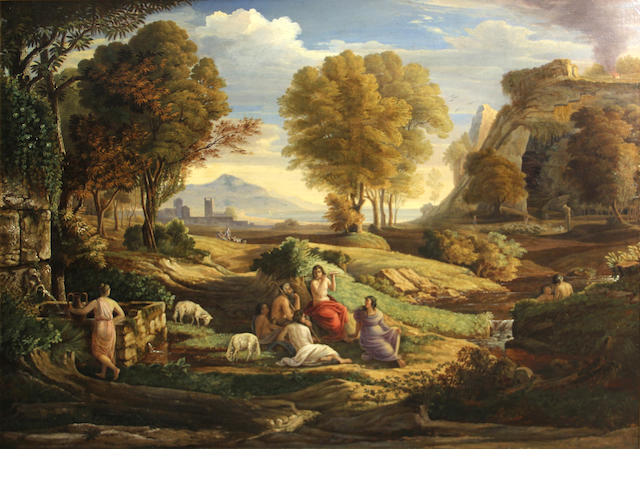 Manner of Claude Gellée, called Claude Lorrain A classical landscape with maidens and a goatherd 32 1/4 x 46 1/4in