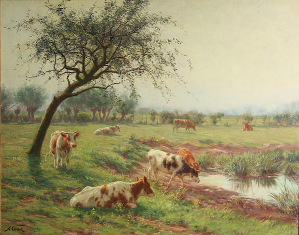 Albert Caullet (Belgian, 1875-1950) Cattle in a sunlit landscape 23 x 27in
