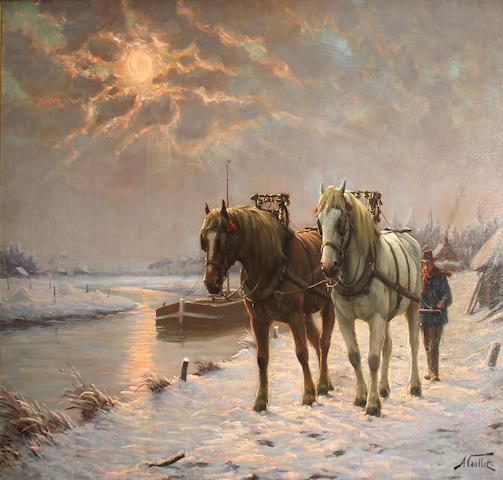 Albert Caullet (Belgian, 1875-1950) Winter landscape with horses 31 1/2 x 39 1/2in