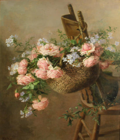 Edith White (American, 1855-1946) A basket of roses suspended from a chair 33  x 27in