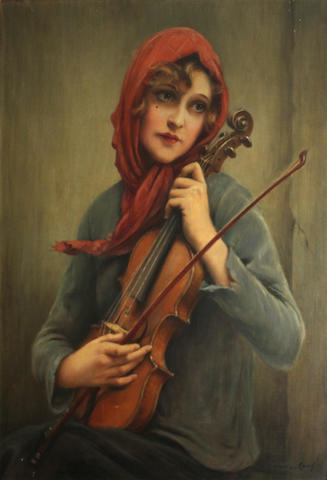 François Martin-Kavel (French, 1861-1931) A young girl with a violin 32 1/4 x 23 1/2in
