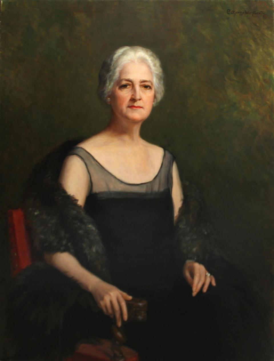 Catherine Denkman Wentworth (American, 1865-1948) Self-portrait, circa 1920; Portrait of Mr. Wentworth, circa 1920 (a pair) first 45 3/4 x 35in; second 36 3/4 x 28 1/2in each unframed