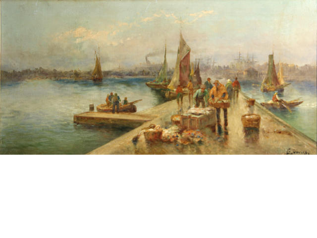 Continental School A busy harbour with fishermen unloading the day's catch 14 x 28 1/4in