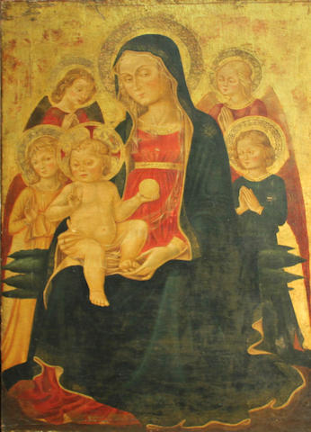 Italian School, late 19th Century Virgin and Child with angels 36 3/4 x 24 1/4in