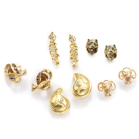 A group of five pairs of gem-set, diamond, sapphire, 18k and 14k gold earrings