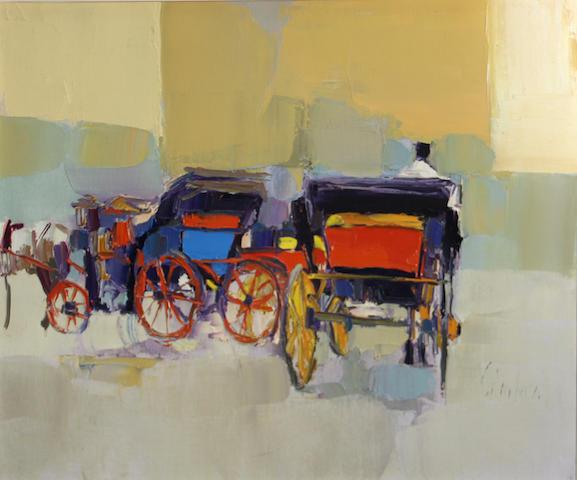 Nicola Simbari (Italian, born 1927) Carrozza a cavalli, 1990 20 x 23 3/4in