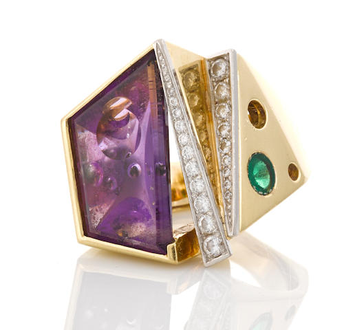 An amethyst, tsavorite garnet and diamond ring
