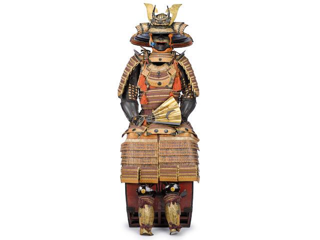 An orange and purple-laced haramaki armor with an impressive kabuto The helmet by Masanobu, all Edo period (18th century)