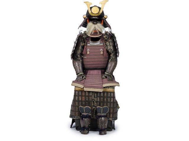 A fine armor with a ni mai do Helmet by Echigo Munetsugu, Edo period (19th century)