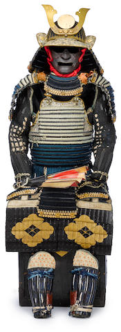 A light green and dark blue laced armor with an important helmet The helmet by Nagamichi, Edo period (late 17th century), the armor Edo period (18th century)