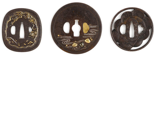 A Tanaka school tsuba, a kinko tsuba and a Kinai tsuba Edo period (18th century) and later